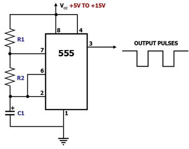Electronic projects 555 timer astable multivibrator circuit pulse generator circuit swarovskicordoba Choice Image
