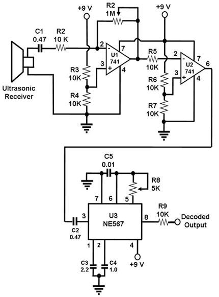 Schematic Diagram for an Ultrasonic Receiver Circuit (capacitor values are in microF)