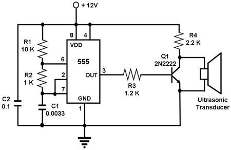 Ultrasonic Transmitter Circuit on electronic timer circuit